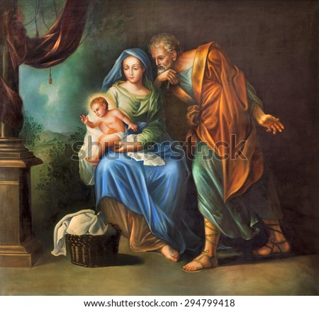 CORDOBA, SPAIN - MAY 27, 2015: The Holy Family painting in church Convento de Capuchinos (Iglesia Santo Anchel) by unknown artis of 18. cent. - stock photo