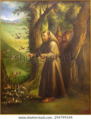 CORDOBA, SPAIN - MAY 27, 2015: The modern paint of St. Francis of Assisi Preaching to the birds from 20. cent. in church Convento de Capuchinos (Iglesia Santo Anchel). - stock photo