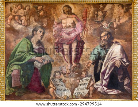 CORDOBA, SPAIN - MAY 27, 2015: The renaissance fresco of Resurrection of Christ in church  Iglesia de San Augustin  from 17. cent. by Cristobal Vela and Juan Luis Zambrano.
