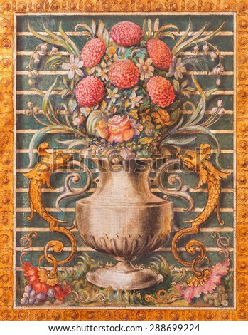 CORDOBA, SPAIN - MAY 27, 2015: The vase with the flowers as the detail from altar in Basilica del Juramento de San Rafael. - stock photo