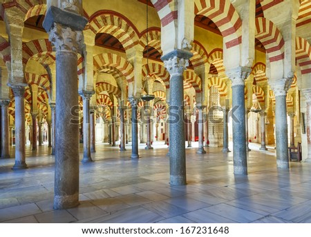 CORDOBA, SPAIN - NOVEMBER 26: Interior view of La Mezquita Cathedral on November 26, 2013, Cordoba, Spain. The cathedral was built inside of the former Great Mosque. Popular tourist destination in Spain.