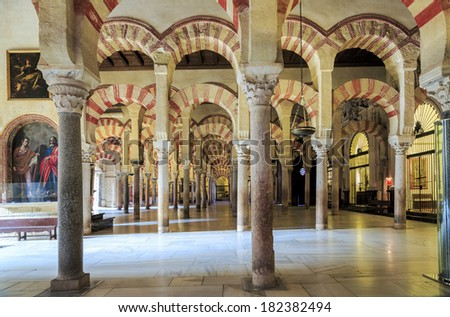 CORDOBA, SPAIN - NOVEMBER 26: Interior view of La Mezquita Cathedral on November 26, 2013, Cordoba, Spain. The cathedral was built inside of the former Great Mosque. Popular tourist destination Spain