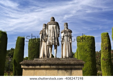 CORDOBA, SPAIN - September 10, 2015: Statues of the Catholic Monarchs (Ferdinand and Isabella) and Christopher Columbus in the gardens of the Alcazar, on September 10, 2015 in Cordoba, Spain - stock photo