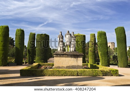 CORDOBA, SPAIN - September 10, 2015: Statues of the Catholic Monarchs (Ferdinand and Isabella) and Christopher Columbus in the gardens of the Alcazar on September 10, 2015 in Cordoba, Spain - stock photo