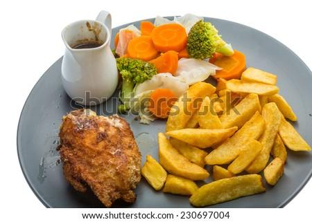 Cordon bleu with cabbage and potato - stock photo