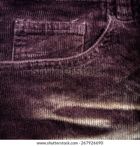 Corduroy background with side pocket - stock photo