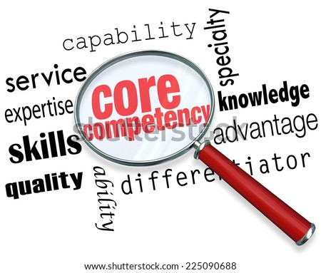 Core Competency words under a magnifying glass to illustrate a unique or essential service, capability, skill, quality or other differentiator or advantage - stock photo