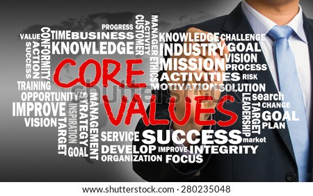 core values concept with business word cloud handwritten by businessman