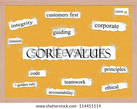 Core Values Corkboard Word Concept with great terms such as mission, integrity, ethical, code and more. - stock photo