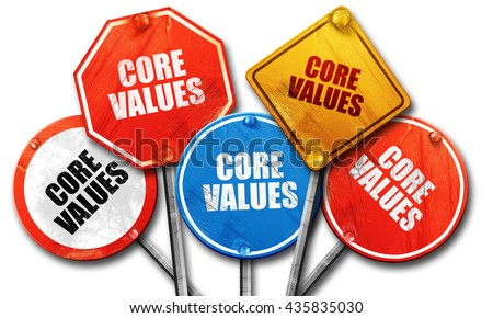 core values, 3D rendering, rough street sign collection - stock photo
