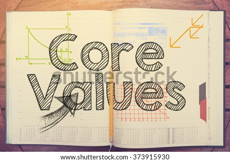 Core Values - text inside notebook on table with coffee - stock photo