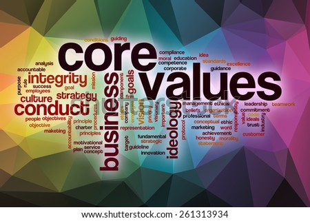 Core values word cloud concept with abstract background - stock photo