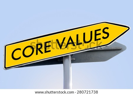core values words on yellow roadsign concept - stock photo