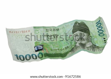 Corean banknote on white background