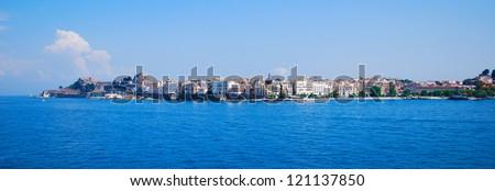 Corfu, capital town of Corfu island - stock photo