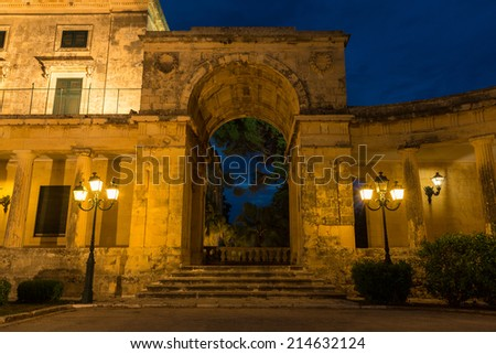 Corfu cityscape at night, Greece  - stock photo