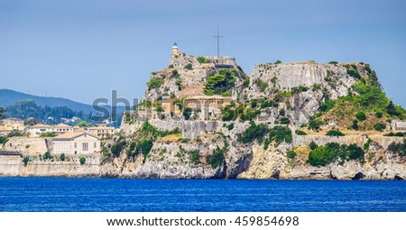 Corfu fortress walls as seen from the sea panoramic shot - stock photo