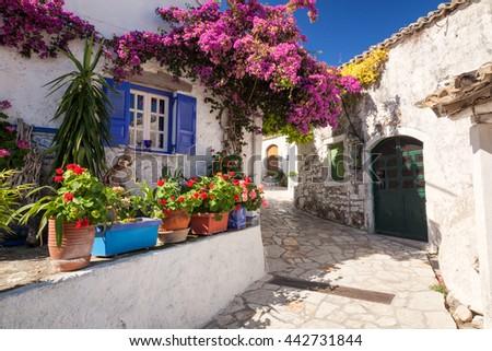 CORFU, GREECE - JULY 31, 2011: Greek architecture in small village Afion, Corfu, Greece - stock photo
