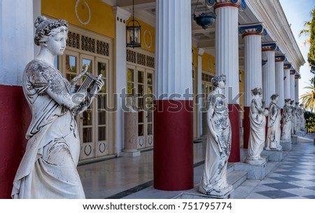 CORFU, GREECE- OCTOBER 22, 2017: Achillion Palace was built by Empress of Austria, Elisabeth of Bavaria, also known as Sisi in 1890.Courtyard with the 9 muses.