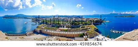 Corfu island panorama as seen from above the old venetian fortress. Corfu also known as Kerkyra Island in Greece - stock photo