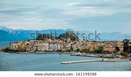 Corfu island with the mountains in background. - stock photo