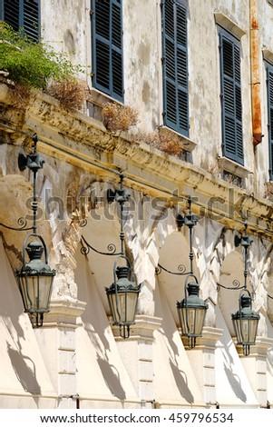 Corfu Liston Promenade architecture and details. Kerkyra island, Greece. - stock photo