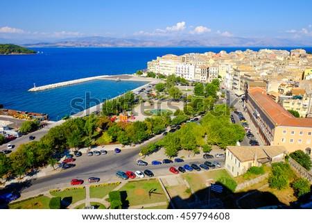 Corfu old harbour, city symbol. Panoramic view - stock photo
