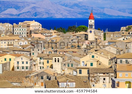 Corfu panorama over the old city and old clock tower, city symbol. - stock photo
