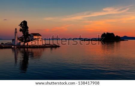 Corfu Sunset - Church - stock photo