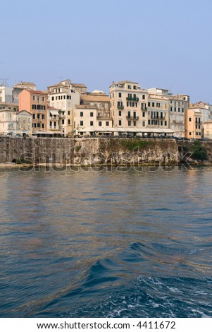 Corfu town old buildings detail from the sea