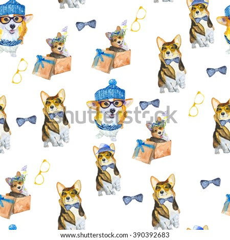 Corgi pattern.  Hipster dog, clothes for dogs and accessories watercolor.