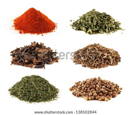 Coriander, paprika, cloves, cumin, dill collection isolated on white background - stock photo