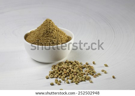 coriander powder in a bowl - stock photo