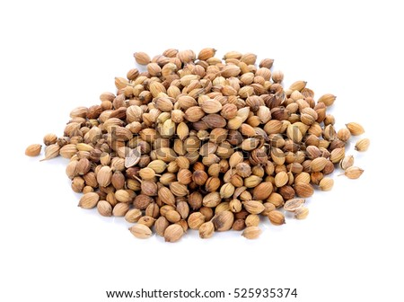 coriander seed on white background