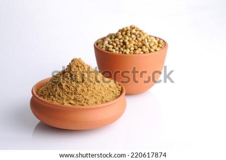 Coriander seeds and powdered coriander spices - stock photo