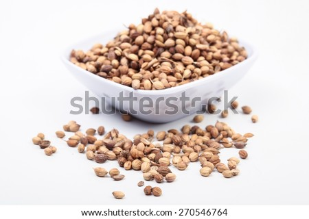 Coriander Seeds close up macro isolated on white. Image suitable for restaurants, supermarkets, wholesalers, resellers coriander seeds products or health products based on  coriander seeds. - stock photo