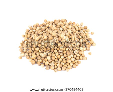 Coriander seeds isolated on white background.