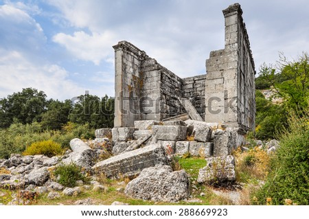 Corinthian temple in the Ancient ruined city of Adada, Turkey.