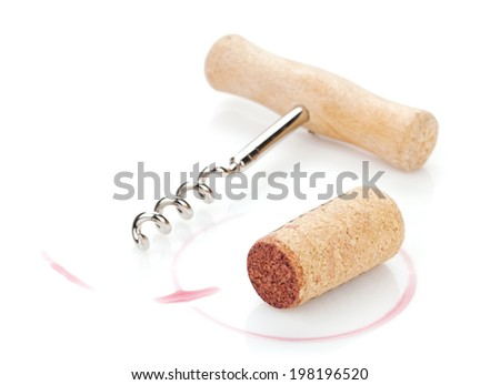 Cork and corkscrew with red wine stains. Isolated on white background - stock photo