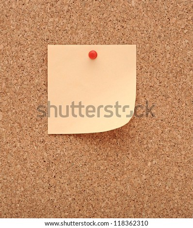 Cork board and blank note