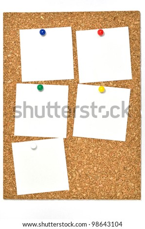 Cork board and blank notes. The blank notes of Five sheets stuck on the corkboard. - stock photo
