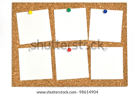 Cork board and blank notes. The blank notes of Six sheets stuck on the corkboard. - stock photo