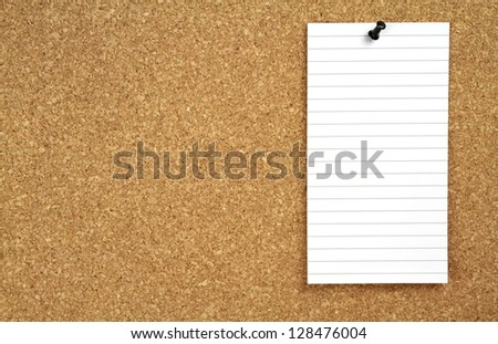 Cork board and note paper - stock photo