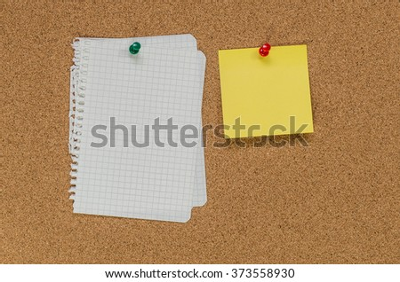 Cork board and note papers, close up image - stock photo