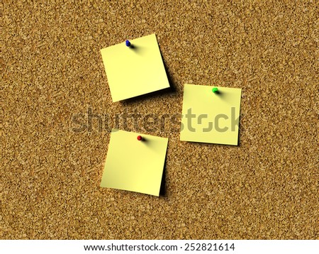 Cork board notes - stock photo