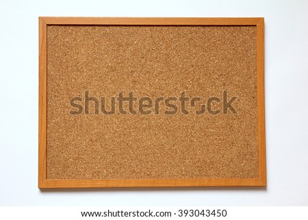 Cork board placed on white background