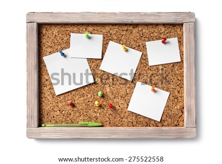 cork board with blank paper notes and ball pen, isolated - stock photo