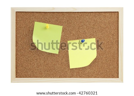 Cork board with notes isolated on white