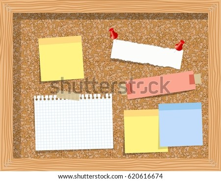 Cork board with pinned paper notepad sheets realistic  illustration.  illustration board for notes. A noteboard made of cork with some pins and blank papers