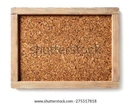 cork board with rustic wooden frame. isolated - stock photo